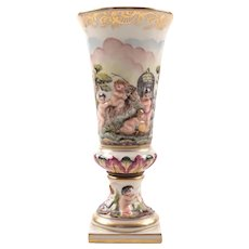 Vintage Capodimonte Hand Painted Vase with Putti