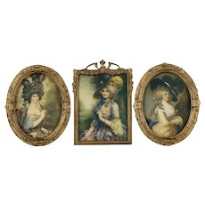 Three Vintage offset Lithographs of Female Portraits