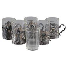 800 Silver Repoussè Overlays German Shot Glasses