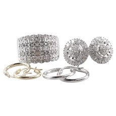 14K Gold Sterling Silver 1.35 CTW Diamond  Ring and Earrings Set