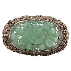 Vintage 800 Silver Carved Jadeite Filigree Brooch