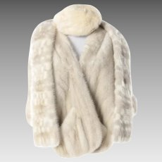 Vintage White Mink Stole, Scarf, and Hat