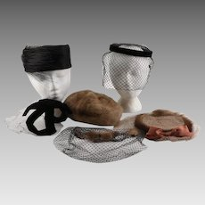 Women's Vintage Hats and Veils with Lace, Mink, Feathers, and a Satin Bow in Two Hat Boxes