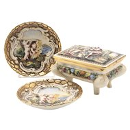 Capodimonte Gilt Trinket Box & Plates