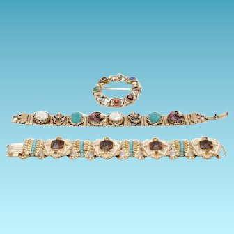 1970's  Colorful Teal, Ruby, and Gold Victorian Revival Bracelets and Brooch