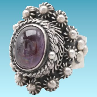 Mexican Sterling Silver Amethyst Poison Ring with Hindged Lid