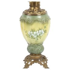 Vintage Hand Painted Glass & Brass Parlor Lamp Base