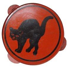 Vintage Tin Halloween Tambourine - Black Cat