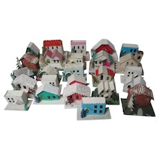 """25 Vintage """"Under The Tree"""" Christmas Village Houses - Assorted"""