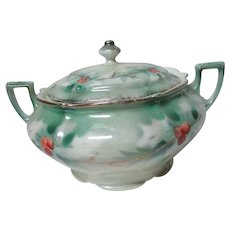 Beautiful Old Germany Porcelain Christmas Holly China Sugar Bowl w Lid