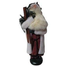 1987 Byers Choice Caroler - White Coat Santa Claus - Rabbit Fur Beard