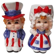 Fabulous Lefton Japan 4th of July Cermaic Pitchers - Uncle Sam & Betsy Ross