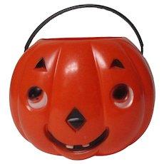 Vintage Halloween Hard Plastic Candy Bucket - 2 Sided JOL