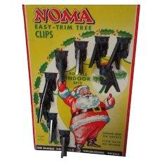 8 Vintage Noma Metal Christmas Light Clips On Orig Pkg Card