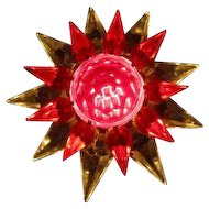Giant 1930's C-9 BASE Glass Matchless Star Xmas Light - Clear Red Red