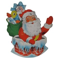 Unusual Vintage Santa in Chimney Rocking Christmas Candy Container