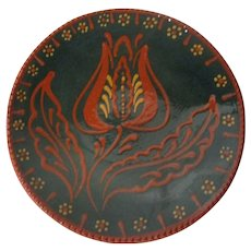 1988 Ned Foltz of Pennsylvania Redware Pottery Plate - Large Tulip on Blue