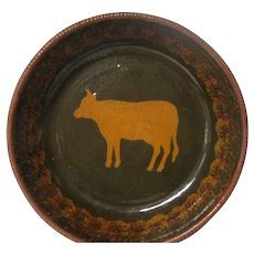 1980 Ned Foltz of Pennsylvania Redware Pottery Deep Plate - COW