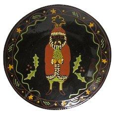 "14"" RARE 1995 BREININGER REDWARE Decorated Plate - Christmas Santa Ornament"