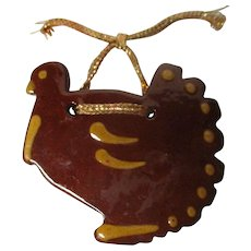 Ned Foltz Redware Pottery Christmas Ornament - Turkey