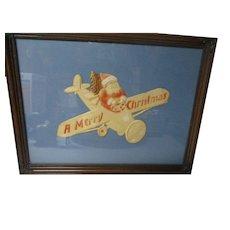 Beautiful Vintage Germany Christmas Diecut - Santa in Airplane - Framed