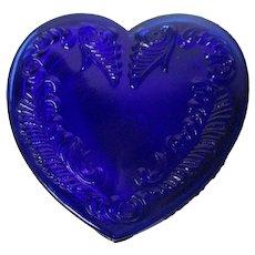 Vintage Degenhart Glass Heart Trinket Box w Lid - Cobalt Blue