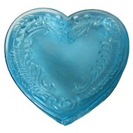 Vintage Degenhart Glass Heart Trinket Box w Lid - Aqua