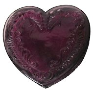 Vintage Degenhart Glass Heart Trinket Box w Lid - Purple