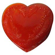 Vintage Degenhart Glass Heart Trinket Box w Lid - Orange