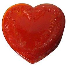 Vintage Degenhart Glass Heart Trinket Box w Lid - Orange