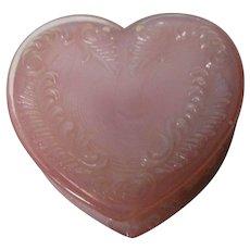 Vintage Degenhart Glass Heart Trinket Box w Lid - Pink Opalescent