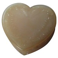 Vintage Degenhart Glass Heart Trinket Box w Lid - Tan Opalescent
