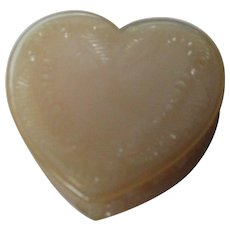 Vintage Degenhart Glass Heart Trinket Box w Lid - Tan Opalescent