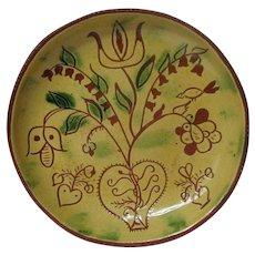 1980 BREININGER Redware Decorated Deep Plate - Spring Flowers