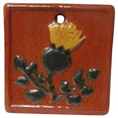 Ultra Rare 1998 GREG SHOONER Redware Pottery Christmas Ornament - Thistle