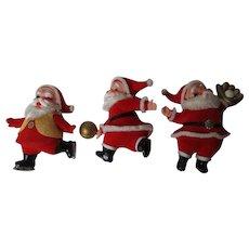 3 Funny Vintage Santa Christmas Ornaments - Basketball Baseball & Ice Skating