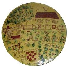 "15 1/2"" Stunning 1987 BREININGER Redware Decorated Plate - Farm Yard Scene"