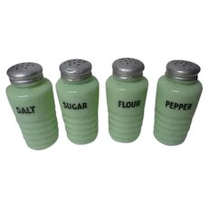 4 Piece 1930's Jeanette Rib Jadite Shakers Range Set - Sugar Flour Salt Pepper
