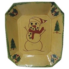 1999 BREININGER Redware Decorated Plate - Christmas Snowman