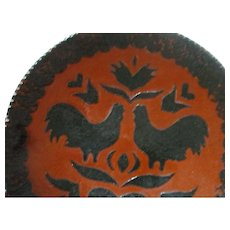 1988 Ned Foltz of Pennsylvania Redware Pottery Plate - Roosters