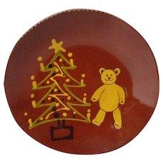 1990 BREININGER Redware Decorated Plate - Christmas Tree w Teddy Bear