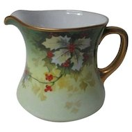 Stunning Old Wm Guerin & Co Limoges France - Porcelain Holly Christmas Pitcher