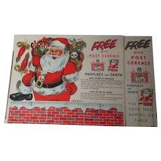 Vintage POST Cereal Christmas Premium - Santa & Fireplace