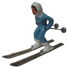 Vintage Barclay Christmas Skier Figure - Lady in Blue