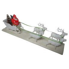 Vintage Christmas Hard Plastic - Santa in Sled w 4 Reindeer on Platform