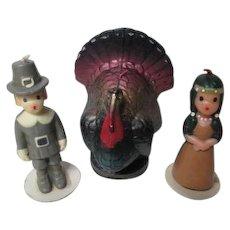 Vintage 1960's Thanksgiving GURLEY Candles - Pilgrim Man & Lady w Big Turkey