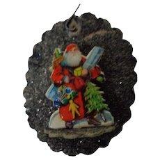 Vintage West Germany Christmas Ornament with Santa Diecut