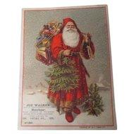 Very Old HUGE Christmas Trade Card - Santa Claus - Joe Walker Candy & Toy Store