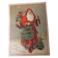 Very Old HUGE Christmas Trade Card - Santa Claus - Centennial Tea of Taunton MA