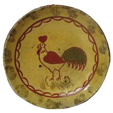 """1981 BREININGER Redware Decorated Plate - Rooster - 5 3/4"""""""